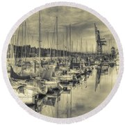 Round Beach Towel featuring the photograph Olympia Marina 3 by Jean OKeeffe Macro Abundance Art