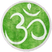 Om Green Round Beach Towel