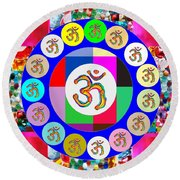 Om Mantra Dedication  Devotion Symbol Assembly By Artist N Reiki Healing Master Navinjoshi Round Beach Towel