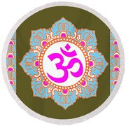 Om Mantra Ommantra 3 Round Beach Towel by Navin Joshi