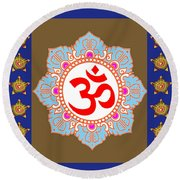 Om Mantra Ommantra Chant Yoga Meditation Tool Round Beach Towel by Navin Joshi