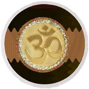 Om Mantra Ommantra Hinduism Symbol Sound Chant Religion Religious Genesis Temple Veda Gita Tantra Ya Round Beach Towel by Navin Joshi