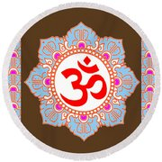 Om Mantra Ommantra Round Beach Towel by Navin Joshi