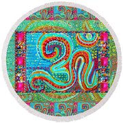 Om Mantra Ommantra Symbol Yoga Meditation Spiritual Work Round Beach Towel