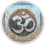 OM Round Beach Towel by Richard Laeton
