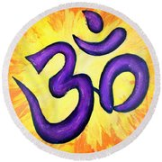 Om Symbol Art Painting Round Beach Towel