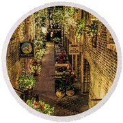 Omaha's Old Market Passageway Round Beach Towel by Elizabeth Winter