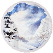 Round Beach Towel featuring the painting O'malley Peak by Teresa Ascone