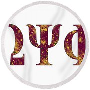 Omega Psi Phi - White Round Beach Towel by Stephen Younts