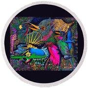 Round Beach Towel featuring the painting Omen Birds by Peter Gumaer Ogden