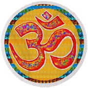 Ommantra Om Mantra Chant Yoga Meditation Spiritual Religion Sound  Navinjoshi  Rights Managed Images Round Beach Towel