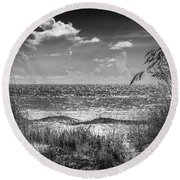 On A Clear Day-bw Round Beach Towel