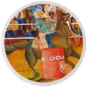 Round Beach Towel featuring the painting On A Dime by Joshua Morton
