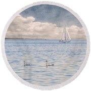 Round Beach Towel featuring the photograph On A Summer's Breeze by Garvin Hunter