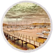 Round Beach Towel featuring the photograph On Any Day by Wallaroo Images