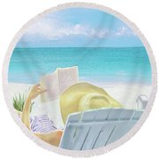 On Beach Time Round Beach Towel