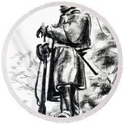On Duty In Brigadoon  No Ch101 Round Beach Towel