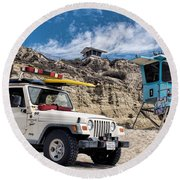 On Duty Round Beach Towel