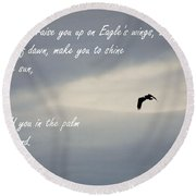 On Eagle's Wings Round Beach Towel by Sharon Elliott