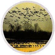 On Golden Pond Round Beach Towel by Elizabeth Winter