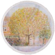 Leland Avenue In Chicago Round Beach Towel