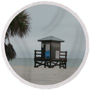 Round Beach Towel featuring the photograph No Lifeguard On Duty by Christiane Schulze Art And Photography