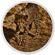 On My Own Round Beach Towel by Douglas Barnard