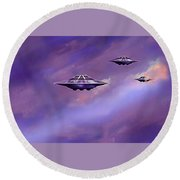 Round Beach Towel featuring the painting Sky  Patrol by Hartmut Jager