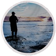On The Beach Fishing At Sunset Round Beach Towel