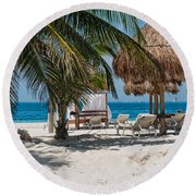 White Sandy Beach In Isla Mujeres Round Beach Towel