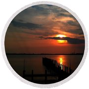 Round Beach Towel featuring the photograph On The Boardwalk by Debra Forand