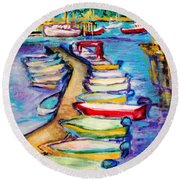 On The Boardwalk Round Beach Towel