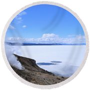 Round Beach Towel featuring the photograph On The Edge Of Lake Yellowstone by Michele Myers