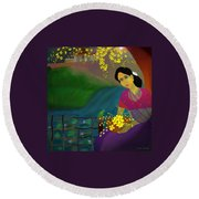 On The Eve Of Golden Shower Festival Round Beach Towel by Latha Gokuldas Panicker