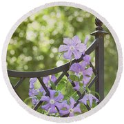 On The Fence Round Beach Towel by Kim Hojnacki