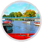 Round Beach Towel featuring the photograph On The Garavogue by Charlie and Norma Brock