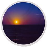 On The Horizon Round Beach Towel by Anita Lewis