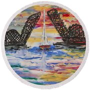 On The Hour. The Sailboat And The Steel Bridge Round Beach Towel
