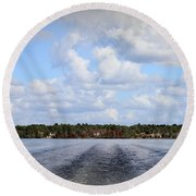 Round Beach Towel featuring the photograph On The Lake by Debra Forand