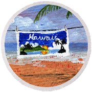 On The Line Round Beach Towel