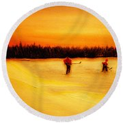 On The Pond With Dad Round Beach Towel