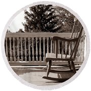 On The Porch Round Beach Towel