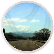 On The Road To Mount Hood Round Beach Towel