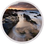 On The Rocks Round Beach Towel by Mike  Dawson