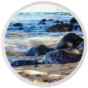 On The Rocks Round Beach Towel by Suzanne Luft