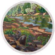 On The Shady Side Of River Koros 2012 Oil On Board Round Beach Towel