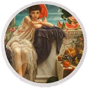 On The Temple Steps, 1889 Round Beach Towel