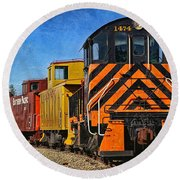 On The Tracks Round Beach Towel by Peggy Hughes