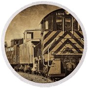 On The Tracks... Take Two. Round Beach Towel by Peggy Hughes