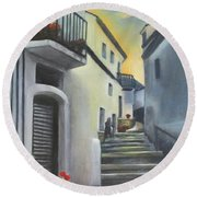 On The Way To Mamma's House In Castelluccio Italy Round Beach Towel by Lucia Grilletto